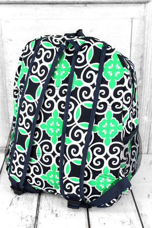 Navy and Green Celtic Swirl Large Backpack