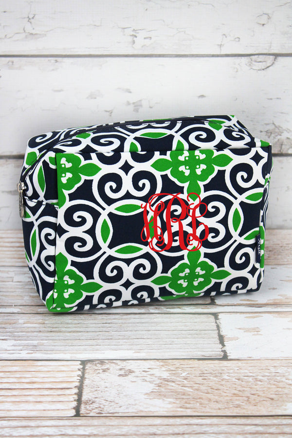 Navy and Green Celtic Swirl Cosmetic Case