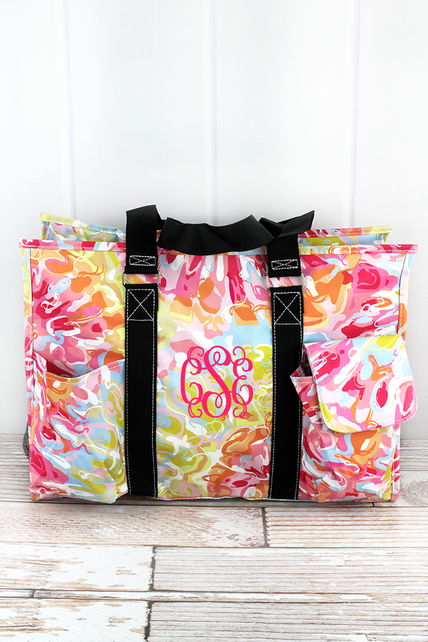 Watercolor Splash with Black Trim Large Organizer Tote