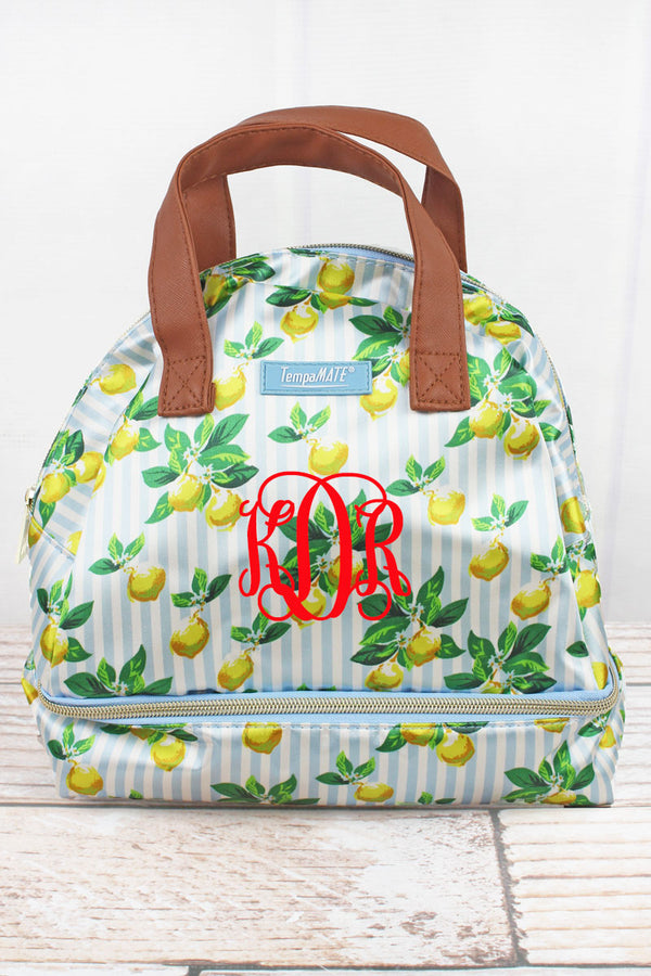 Lemon Stripe TempaMate Insulated Lunch Tote