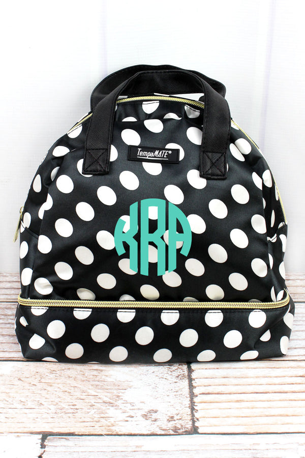 Black and White Dots TempaMate Insulated Lunch Tote