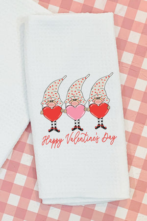 Happy Valentine's Day Gnomes Waffle Kitchen Towel