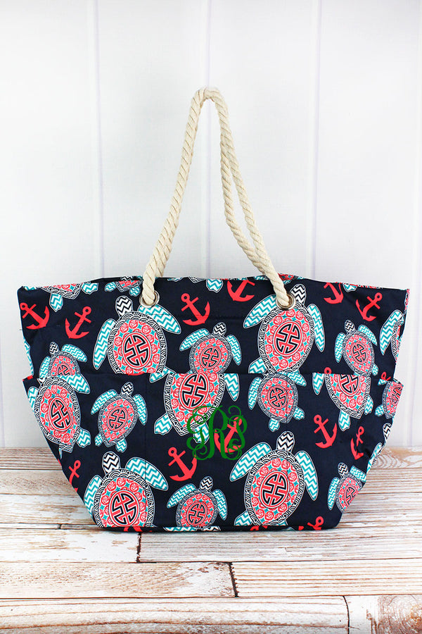 Preppy Under The Sea Rope Handle Beach Tote