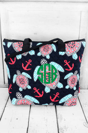 Preppy Under the Sea Quilted Shoulder Bag with Navy Trim