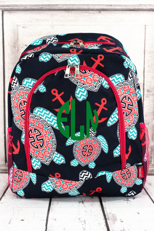 Preppy Under the Sea Large Backpack with Hot Pink Trim #TUL403-HPINK