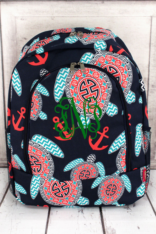 Preppy Under the Sea Large Backpack with Navy Trim #TUL403-NAVY