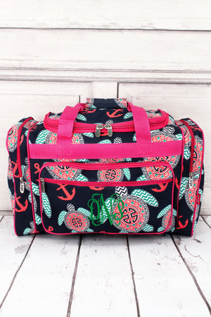 "Preppy Under the Sea Duffle Bag with Hot Pink Trim 20"" #TUL420-HPINK"