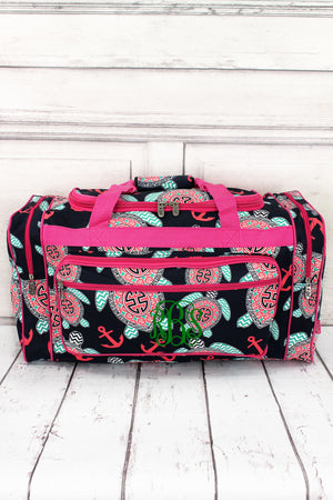 "Preppy Under the Sea Duffle Bag with Hot Pink Trim 23"" #TUL423-HPINK"