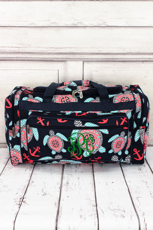 "Preppy Under the Sea Duffle Bag with Navy Trim 23"" #TUL423-NAVY"