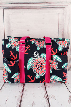 Preppy Under the Sea Utility Tote with Hot Pink Trim