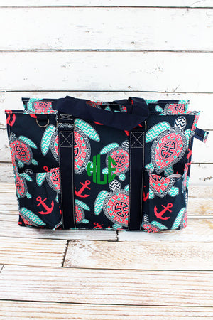 Preppy Under The Sea with Navy Trim Large Organizer Tote