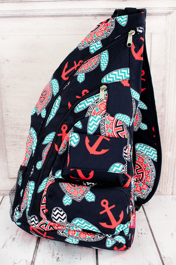 Preppy Under the Sea Sling Backpack #TUL736-NAVY