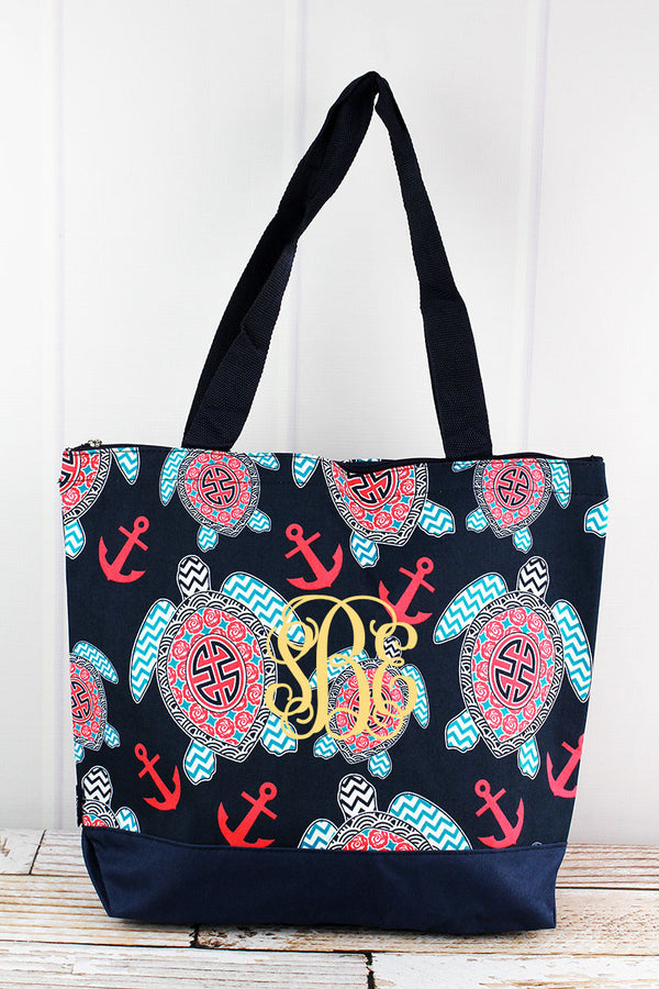 Preppy Under The Sea with Navy Trim Tote Bag