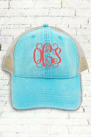 Lagoon Blue and Ivory Comfort Colors Unstructured Trucker Cap #CC0105
