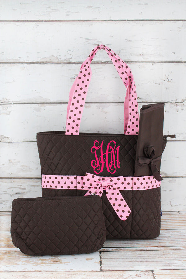 Brown and Pink Quilted Diaper Bag