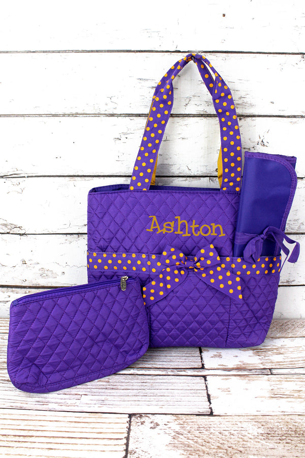 Purple and Yellow Quilted Diaper Bag