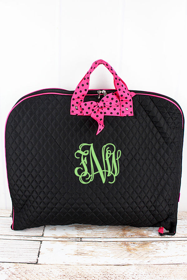 Black and Hot Pink Quilted Garment Bag