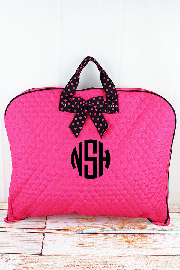 Hot Pink and Black Quilted Garment Bag