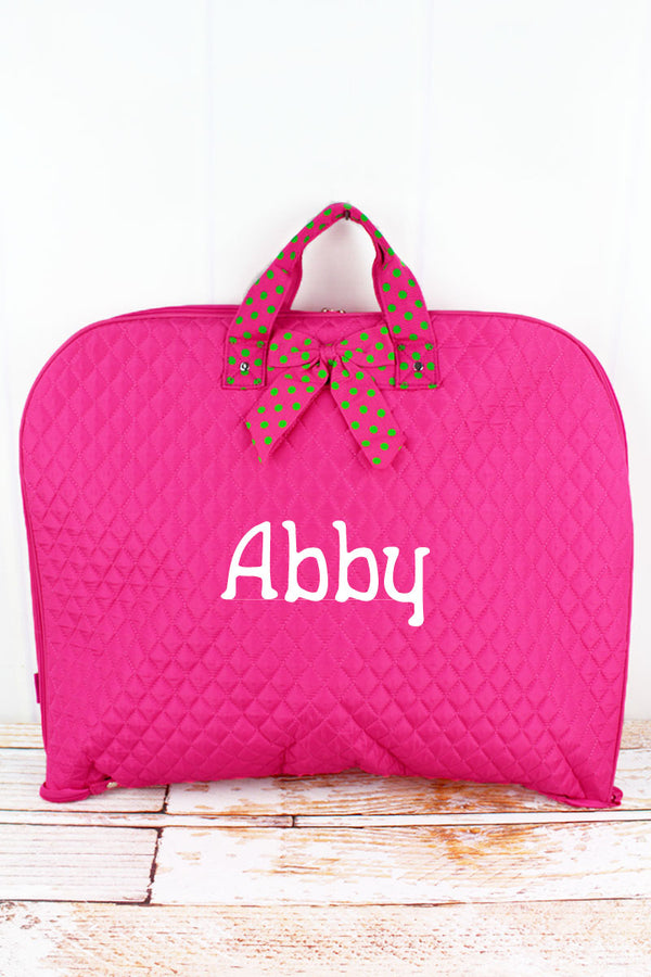 Hot Pink and Lime Quilted Garment Bag