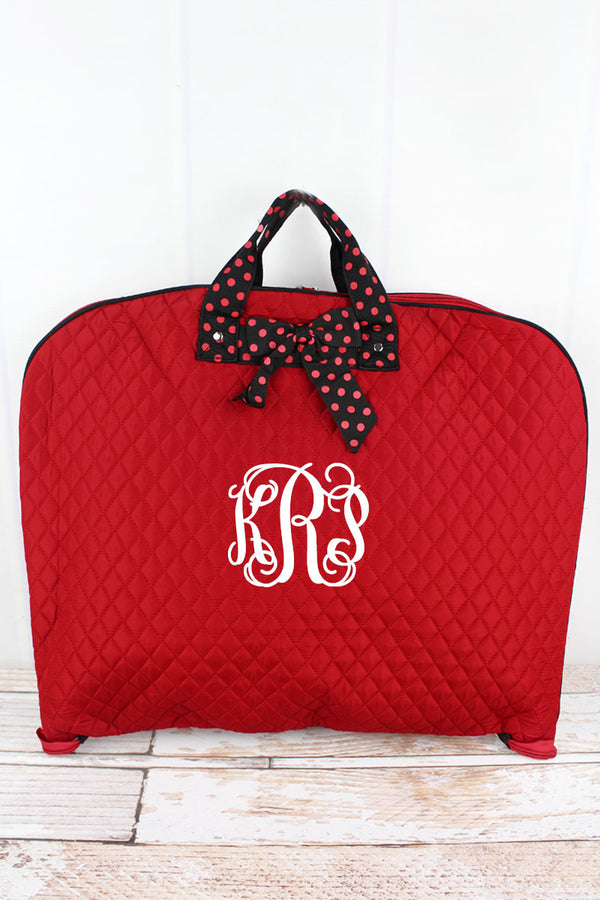 Red and Black Quilted Garment Bag