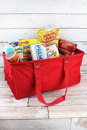 Red Collapsible Haul-It-All Basket with Mesh Pockets