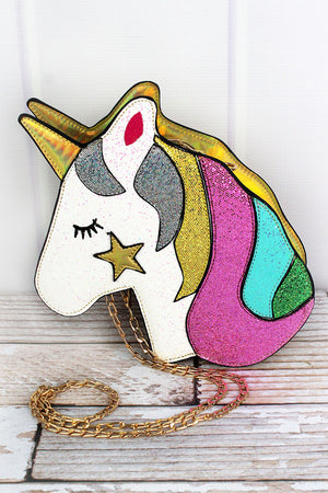 Glittery Unicorn Gold Faux Leather Crossbody