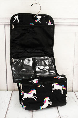 Enchanted Unicorn Black Roll Up Cosmetic Bag
