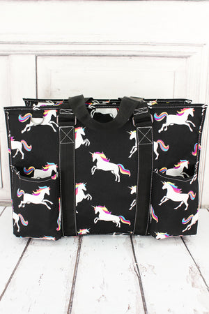 Enchanted Unicorn Black Large Organizer Tote