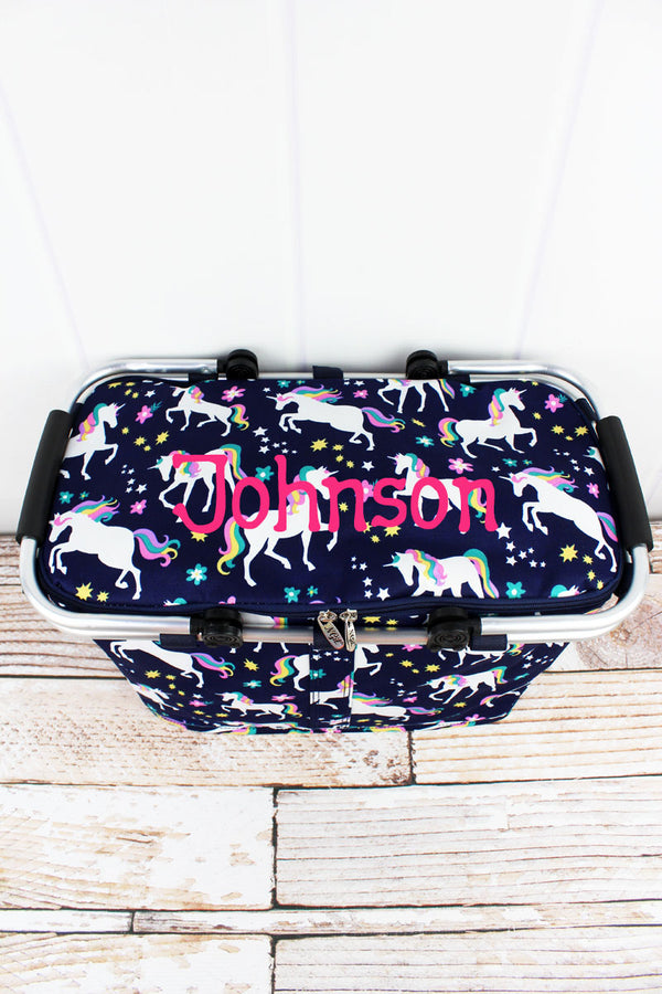Unicorn Dreams Collapsible Insulated Market Basket with Lid