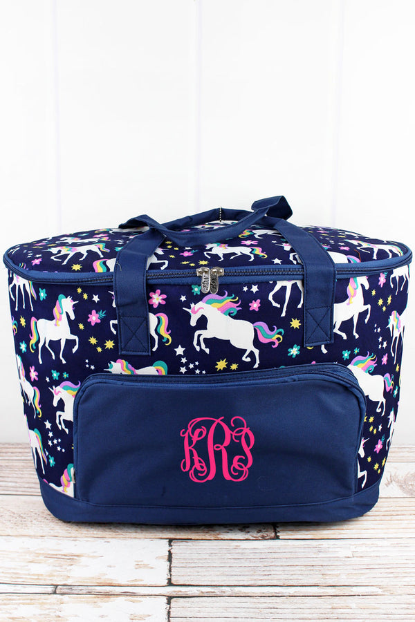 Unicorn Dreams and Navy Cooler Tote with Lid