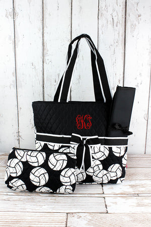 Volleyball Quilted Diaper Bag with Black Trim