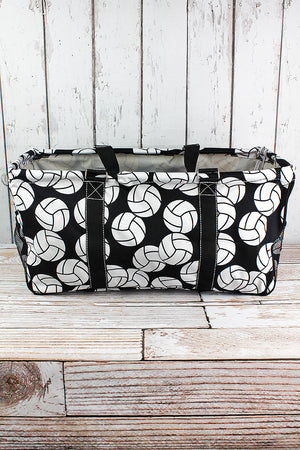 Volleyball Collapsible Haul-It-All Basket with Mesh Pockets