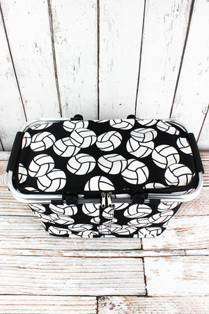 Volleyball Collapsible Insulated Market Basket with Lid
