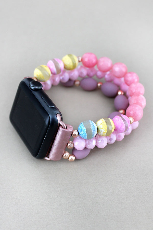 Pink Striped Faceted Bead Bracelet Band for Apple Watch