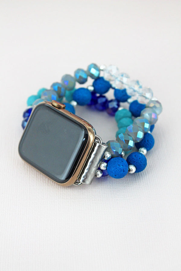 Blue Multi-Color Lava and Faceted Bead Bracelet Band for Apple Watch