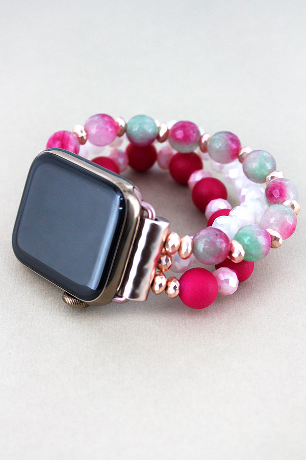 Pink and White Faceted Bead Apple Watch Bracelet Band