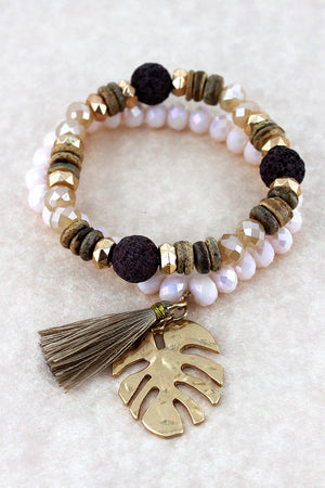Goldtone Palm Leaf and Cream Tassel Charm Beaded Bracelet Set