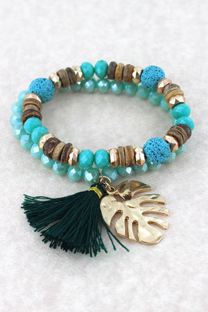 Goldtone Palm Leaf and Green Tassel Charm Beaded Bracelet Set