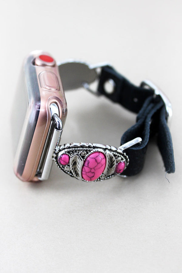Pink Beaded Feather Oval and Black Faux Leather Adjustable Band for Apple Watch