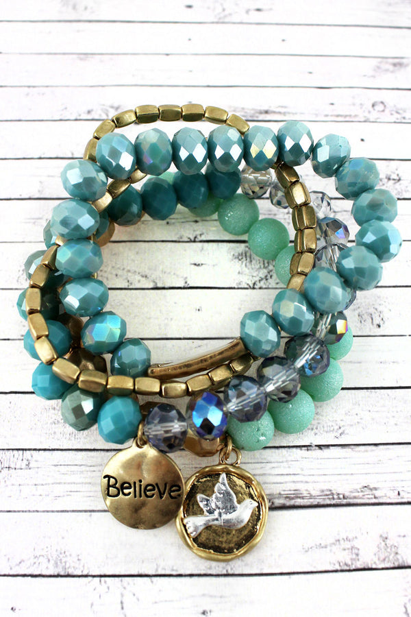 Worn Goldtone 'Believe' and Dove Charm Mint Beaded Bracelet Set