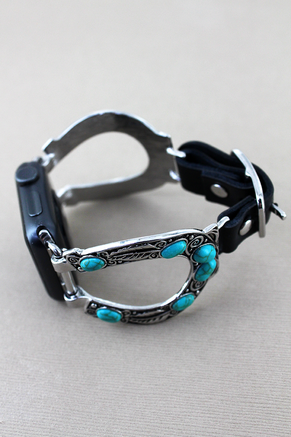 Turquoise Beaded Horseshoe and Black Faux Leather Adjustable Band for Apple Watch