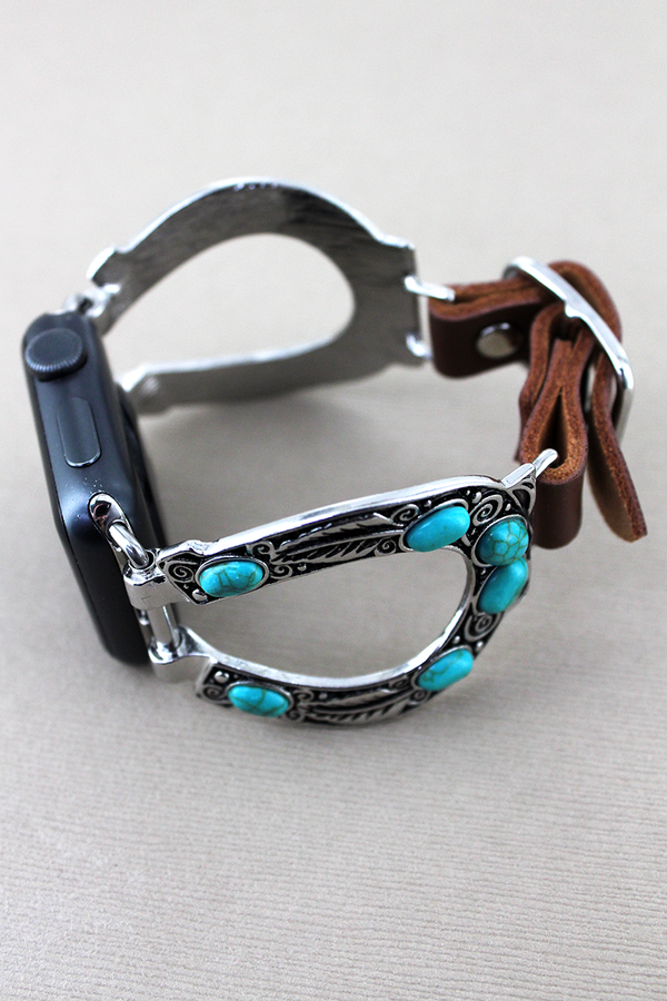 Turquoise Beaded Horseshoe and Brown Faux Leather Adjustable Band for Apple Watch