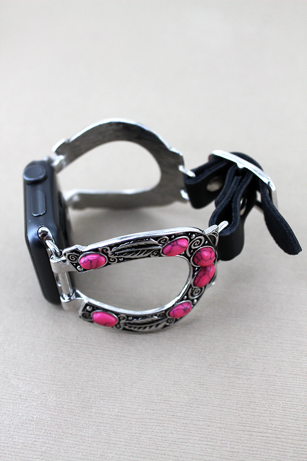 Pink Beaded Horseshoe and Black Faux Leather Adjustable Band for Apple Watch
