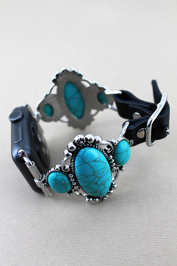 Turquoise Stone Frame and Black Faux Leather Adjustable Band for Apple Watch