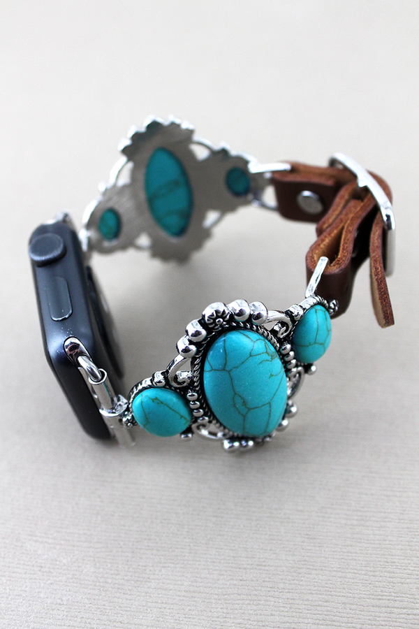Turquoise Stone Frame and Brown Faux Leather Adjustable Band for Apple Watch