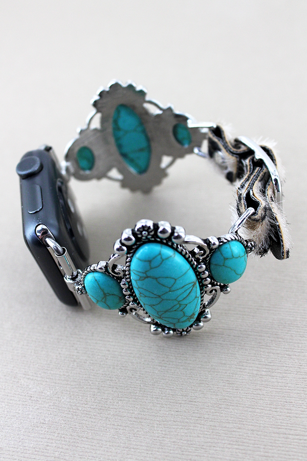 Turquoise Stone Frame and Faux Leopard Adjustable Band for Apple Watch