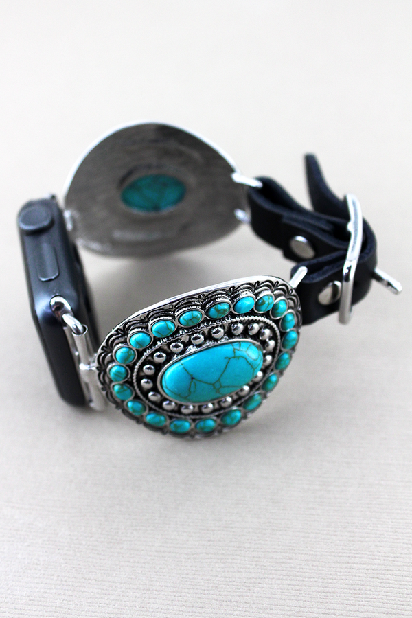 Turquoise Beaded Oval and Black Faux Leather Adjustable Band for Apple Watch