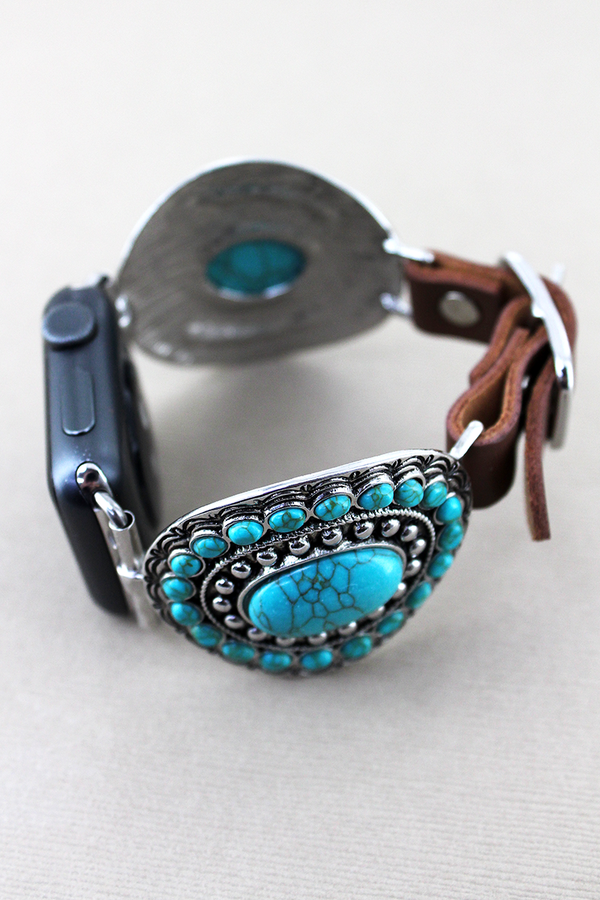 Turquoise Beaded Oval and Brown Faux Leather Adjustable Band for Apple Watch