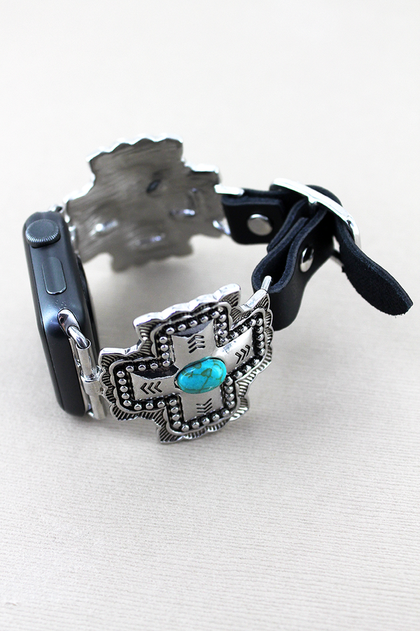 Turquoise Beaded Square Cross and Black Faux Leather Adjustable Band for Apple Watch