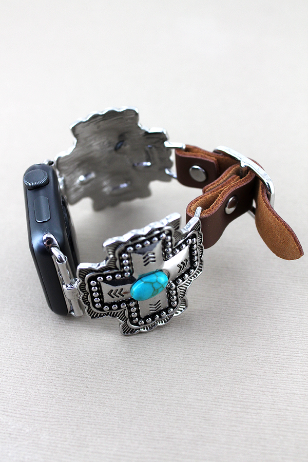 Turquoise Beaded Square Cross and Brown Faux Leather Adjustable Band for Apple Watch